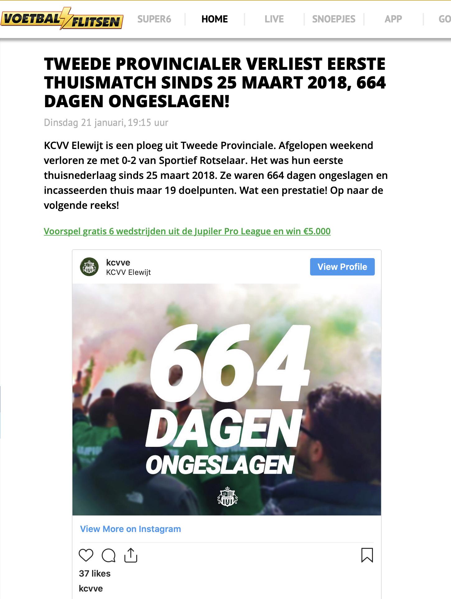 Voetbalflitsen over 664 dagen ongeslagen